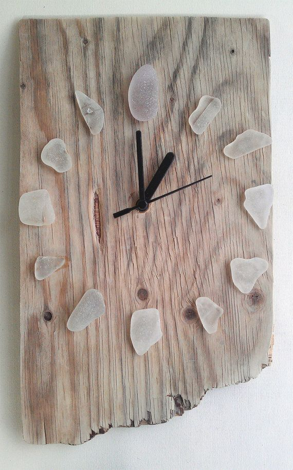 Driftwood Clock w/ White Sea Glass Recycled Hands by JayBird Art