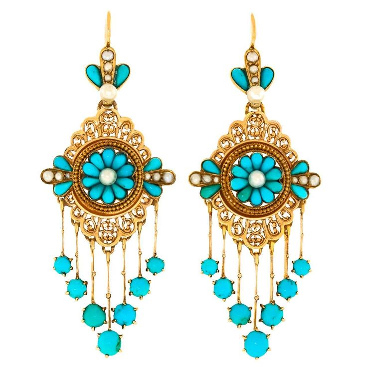 Antique French Turquoise Gold Chandelier Earrings 1 - 946 Best Turquoise With Gold Jewelry, Rings, Earrings, Necklaces