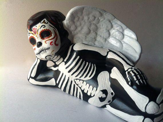 Day of the Dead Angel Cupid cherub Sugar Skull by Redwoodarts, $90.00