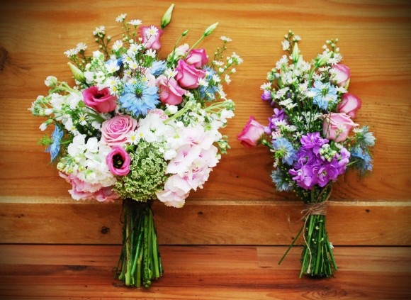 This country garden style wedding is being held on the bride and groom's farm and  the flowers for the day are being kept as natural as possible for that 'just picked' look.