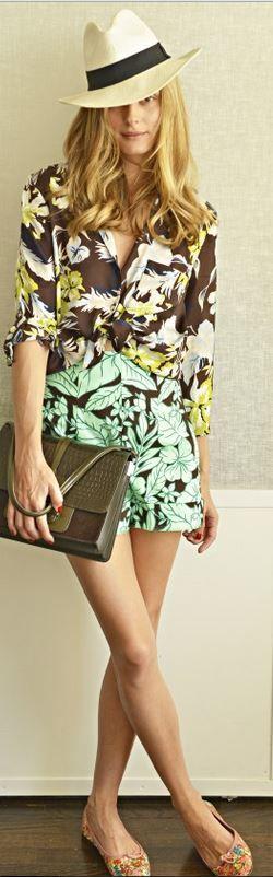 Who made  Olivia Palermo's green print shirt, brown floral button down shirt, fedora hat, ballet flats, and handbag