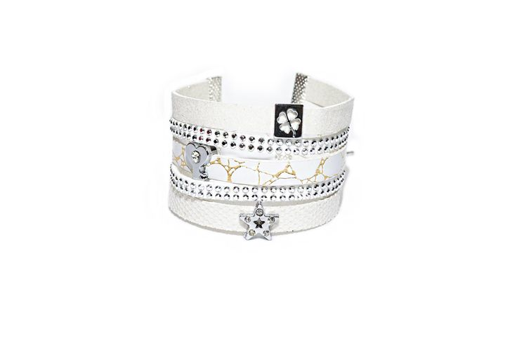 Bracelet Manchette multirangs blanc en cuir et suédine - strass et paillettes : Bracelet par les-bijoux-de-petiteauguai