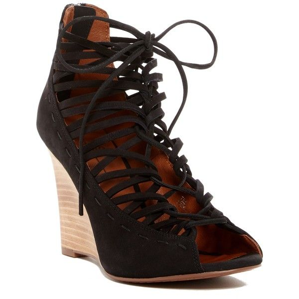 Linea Paolo Willow Lace-Up Wedge Sandal ($40) ❤ liked on Polyvore featuring shoes, sandals, black, black shoes, black caged sandals, black sandals, cage sandals and wedge sandals