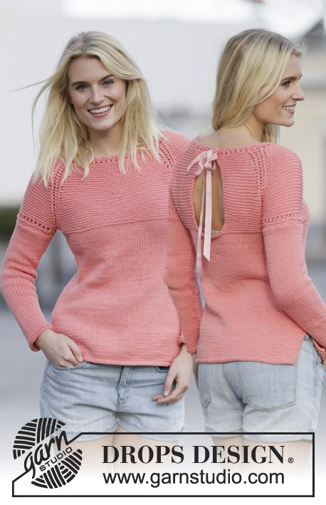 """Summer in Paris - Knitted DROPS jumper with lace pattern, vent and raglan in """"Paris"""". Worked top down. Size: S - XXXL. - Free pattern by DROPS Design"""