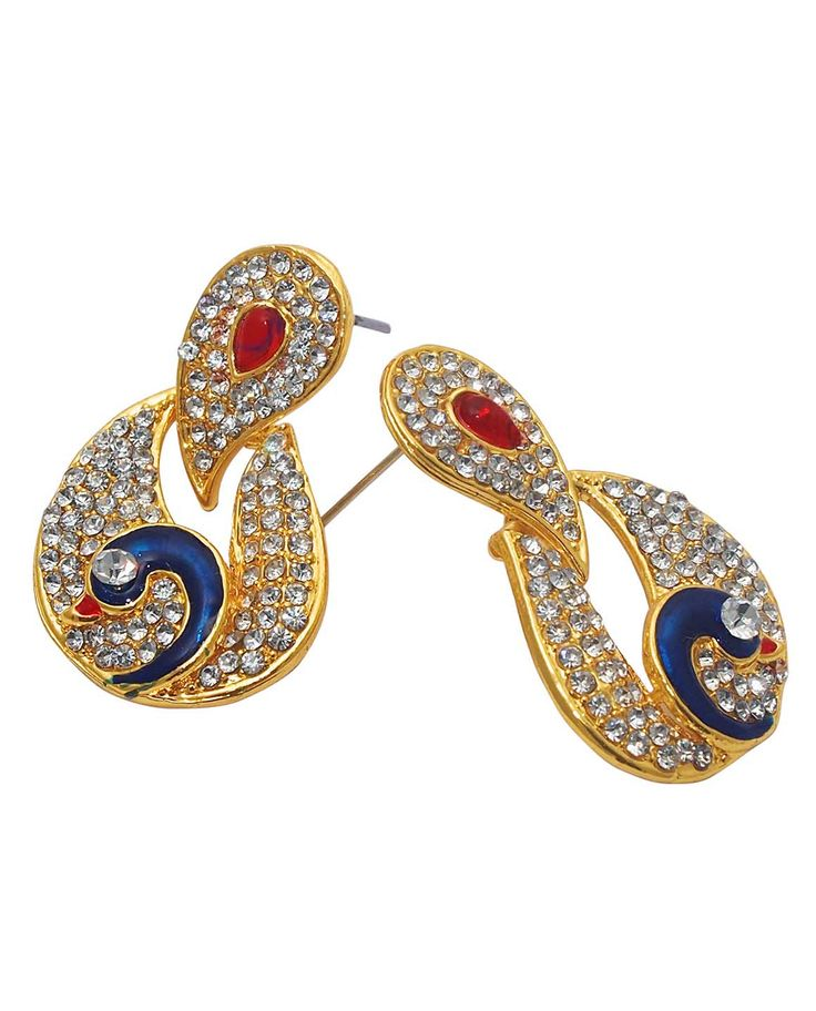 Best for festive & wedding wear, Kriaa Red And Blue Meenakari Austrian Stone Peacock Gold Plated Dangle Earrings @ Rs. 245/- Buy now at http://www.jewelmaze.in/product/AAA0495/Earrings/Kriaa-Red-And-Blue-Meenakari-Austrian-Stone-Peacock-Gold-Pla/?pd=EHG#.Vta-Pn197IU