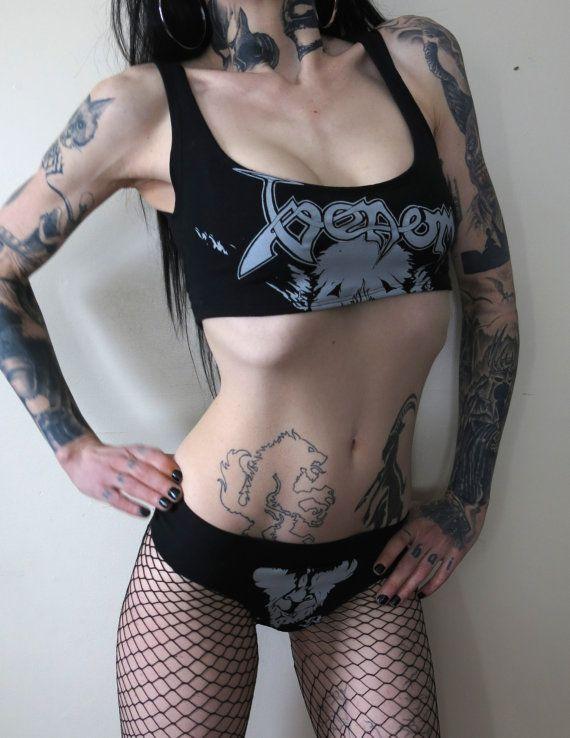 Venom Black Metal Cropped Tank Top & Panties Set