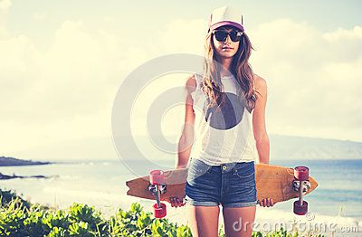 Hipster Girl With Skate Board Wearing Sunglasses - Download From Over 50 Million High Quality Stock Photos, Images, Vectors. Sign up for FREE today. Image: 38383824