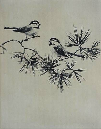 "Hans Kleiber- ""Mountain Chickadees"" etching Possible tattoo?"