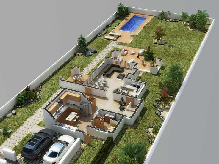 villa 3d isometric view