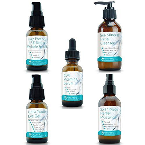 Dr Straights Advanced Skin Care Kit  Retinol Wrinkle Serum  Sea Mineral Facial Cleanser  Vitamin C Serum  Youth Eye Gel  Herbal Facial Moisturizer  Hyaluronic Acid * Check out this great product from Amazon.com