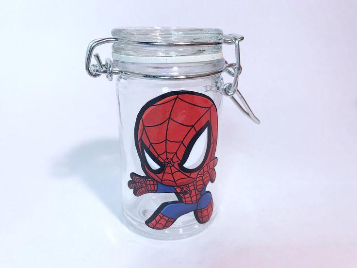 Spider man glass stash jar. airtight jar. weed jars. stoner gifts. Glass stash jar. Weed stash jars. Cannabis jars. Smell proof jars. Spider by CraftyCassondra on Etsy https://www.etsy.com/listing/553466279/spider-man-glass-stash-jar-airtight-jar
