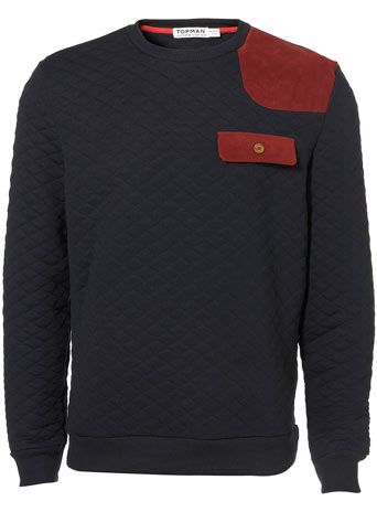 Navy Quilted Patch Sweatshirt - Topman.