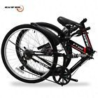 "26"" Black Folding Mountain Bike 7 Speed Bicycle Hybrid Shimano Suspension Sports"