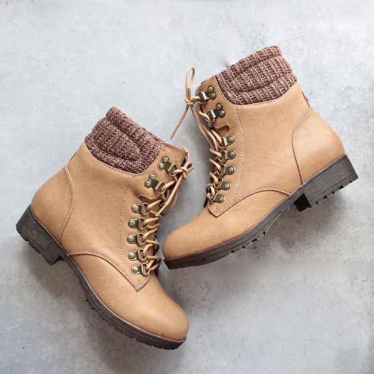 """- Color: Tan - Plaid lining - Man-made material - Heel Height: 1"""" - Boot Height: 6"""""""