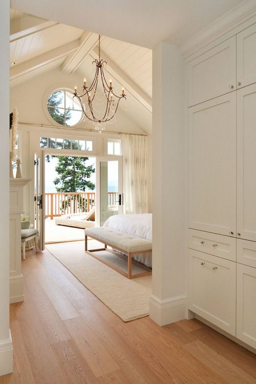 -Hallway storage idea -Circle window in master bedroom peak dormer. -Potential white ceiling beams and white wood -Small windows above doors