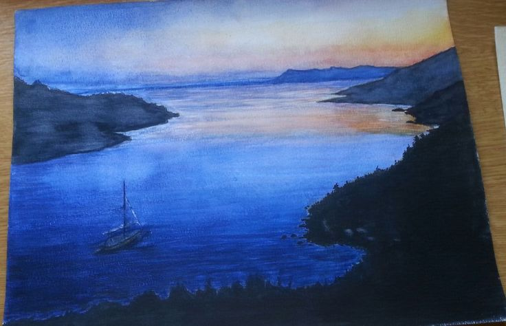 Sea view, in water colour by Gayner Vlastou