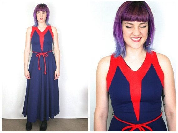 70s Nautical Maxi Dress / Mod Navy Blue and Red Colorblock Festival Maxi Dress / Size S/M Small Medium