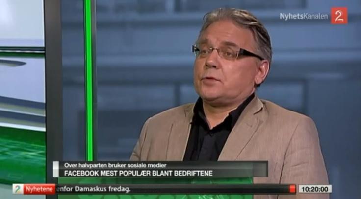 Over halvparten av norske storbedrifter på Facebook. Morten Myrstad intervjuet av TV2 7. desember 2012.