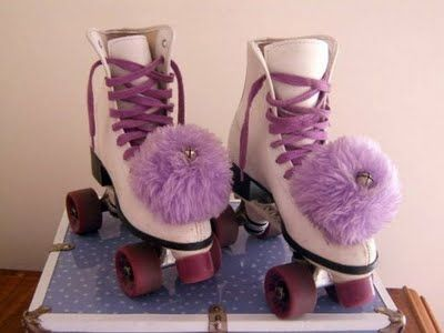 White skates and big poms were a must have at the skating rink...