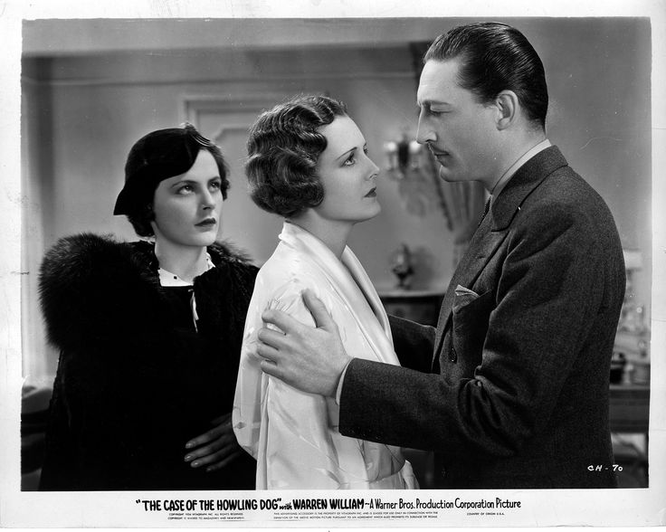 Helen Trenholme as Della Street, Mary Astor as Bessie Foley, Warren William as Perry Mason in The Case of the Howling Dog (1935).  From the Jim Davidson Collection.