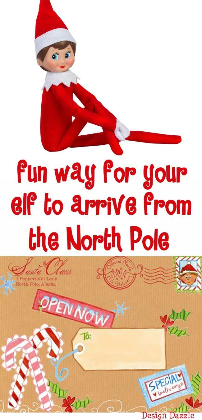 "A fun way for your elf to arrive from the North Pole with our special North Pole label! Love the idea ""place the box in the freezer"" (for the North Pole effect). Design Dazzle #elfideas #elfontheshelf #christmaskids"