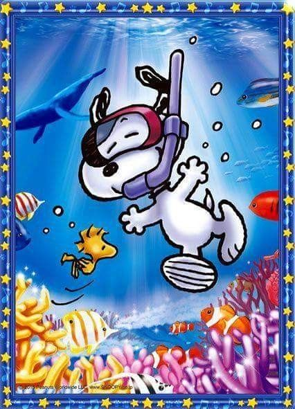 Snoopy goes snorkeling.