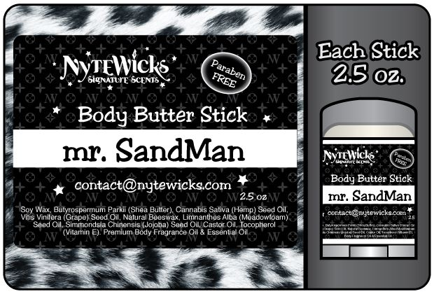 Mr. Sandman - Need to Relax? De-Stress from your day? Call upon the Sandman to make everything OK. Take off your shoes and go for a walk amongst the english lavender fields there is no need to talk. Feel the wind blowing gently through the lilac trees. Breathe deeply the fresh mint that will set you free. 2.5 oz - $14.50