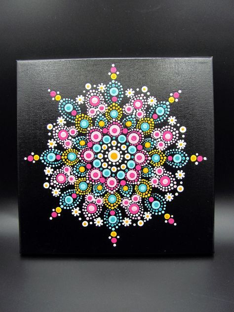 Dot Mandala Painting Room Decor Wall Art Teal Pink Yelow White by OriginsBoutique on Etsy