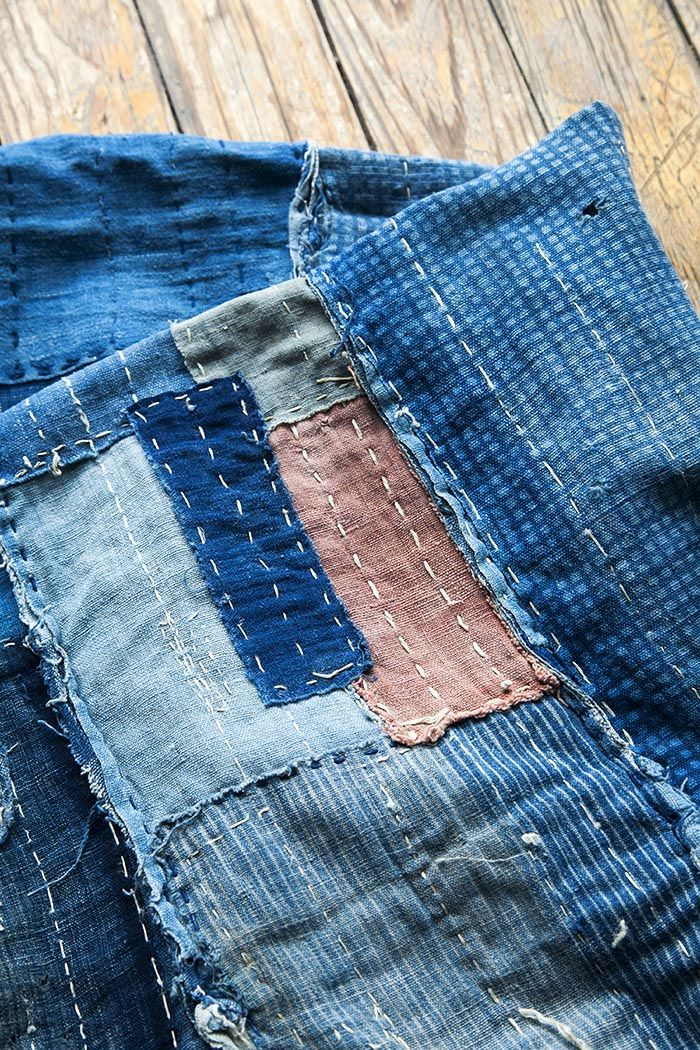 Fantastic article showing three ways of using fabric and simple stitches to visibly mend fabric   photo: Japanese boro