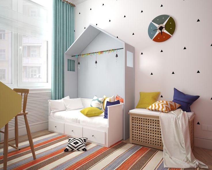 Естественные цвета в детской. Дизайн комнаты в сталинской квартире.