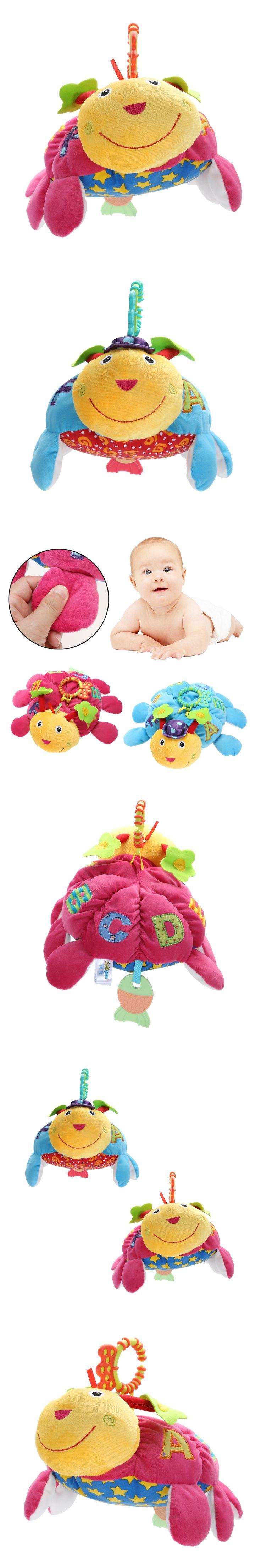 Baby Plush Bed Bell Toy Handbell Doll Turtle Tortoise Handbells Teether Baby Stroller Accessories Hanging Developmental Toys