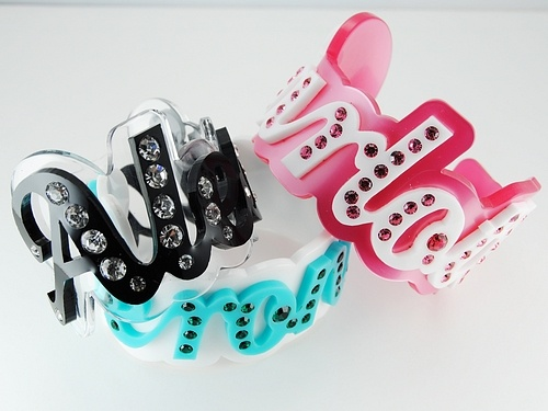 Plexiglass bracelet with your name with strass. personalized bangle Sweet Papillon by Veronica Cattaneo $130