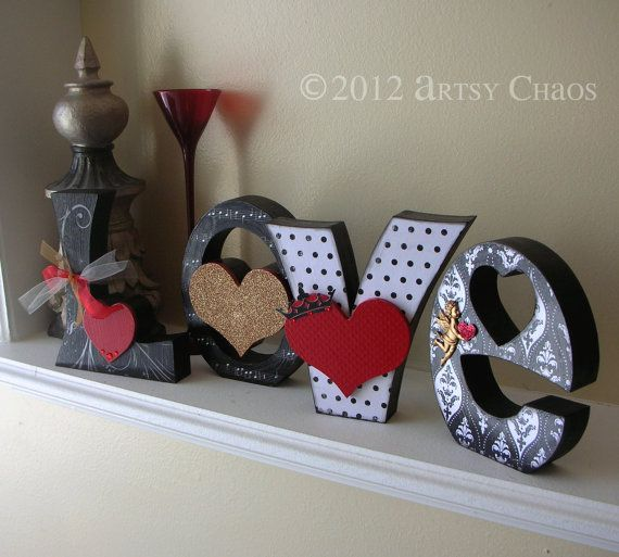 FREE SHIPPING Unfinished Wood Cutout LOVE Letters por artsychaos