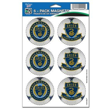 """Philadelphia Union Official MLS 2"""""""" wide each Car Magnet 6-Pack Philly Wincraft"""