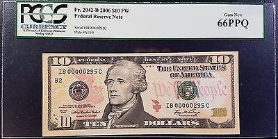 2006 $10 LOW SERIAL Federal Reserve Note PCGS 66 PPQ Gem New Fr 2042-B FRN Bill