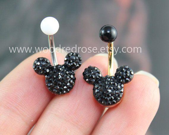 Black Mouse Black Crystal navel ring Stud Bar Barbell Navel
