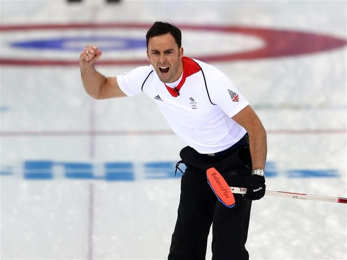 David Murdoch of Great Britain celebrates winning with the final stone, in the men's semifinal match between Sweden and Great Britain at Ice Cube Curling Center. Sochi 2014 Day 13 - Curling Men's Semifinal.