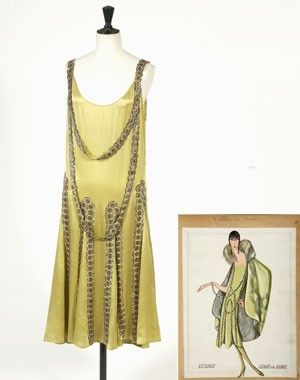"""1925 Lanvin evening dress """"Lesbos"""" with sketch"""