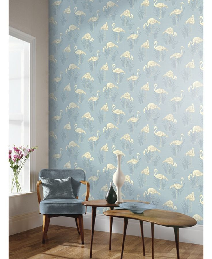 Stunning flamingo themed wallpaper Features subtle metallic highlights Ideal for feature walls and entire rooms