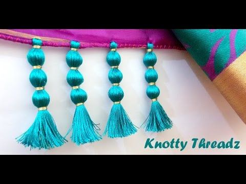 How to do Krosha / Crochet Saree Tassels using Silk Thread with Beads and Kuchu at Home | Tutorial ! - YouTube