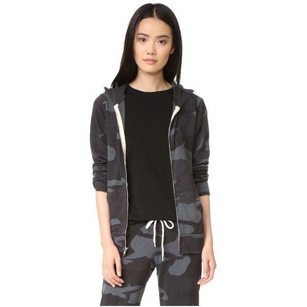 MONROW Oversized Camo Zip Up Hoodie ($155) ❤ liked on Polyvore featuring tops, hoodies, vintage black, hooded zip up sweatshirt, camouflage hoodies, lightweight zip up hoodie, oversized hoodie and camouflage hoodie