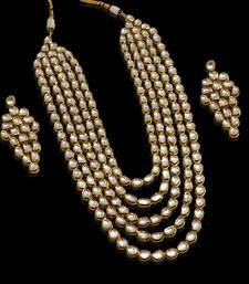 Kundan exclusive necklace set real look 4 lines long