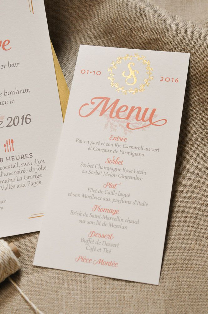 Menu de mariage pêche et dorure à chaud or, création sur mesure // Peach and hotfoil gold wedding menu, bespoke creation