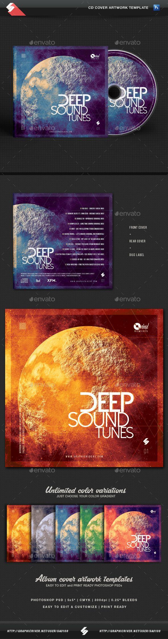 Deep Sound Tunes - CD Cover Template PSD. Download here: http://graphicriver.net/item/deep-sound-tunes-cd-cover-template/14490121?ref=ksioks