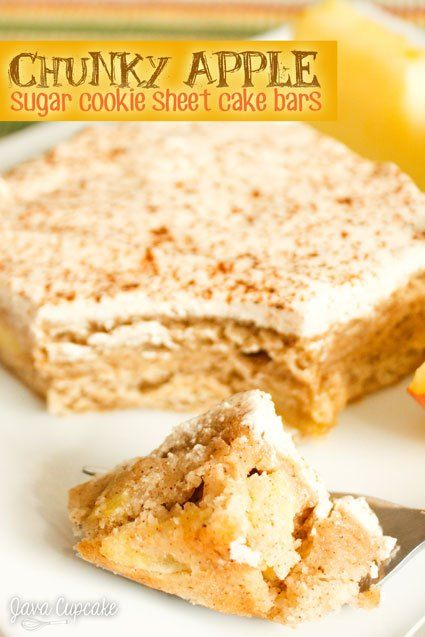 Chunky Apple Sugar Cookie Sheet Cake Bars - Chunks of apples fill this sugar cookie sheet cake that's covered in a creamy cinnamon buttercream | JavaCupcake.com