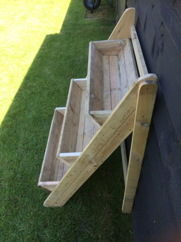 Wooden plant stand 3 tier trough garden strawberry herb How to build a tiered plant stand