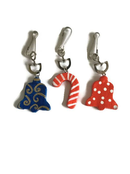 Excited to share the latest addition to my #etsy shop: Christmas stocking fillers for kids, friends, colleagues. Set of 3 Candy cane, bell shaped keychains, bag charm. Unique gift for him / her