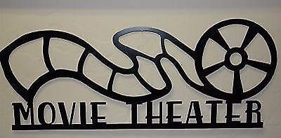 "Metal Wall Art Home Decor Movie Theater Reel 24"" Satin Black"