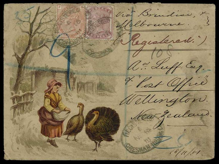 Hand Illustrated and Later Printed Envelopes: 1881 (Nov. 18th) attractive printed envelope depicting a country maid feeding turkeys