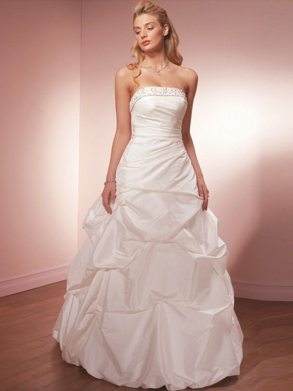 Brilliant Taffeta Strapless Princess Wedding Dresses With Pick Ups